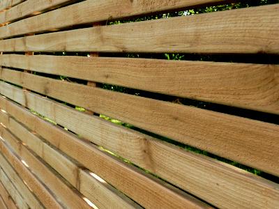 red cedar slatted panels