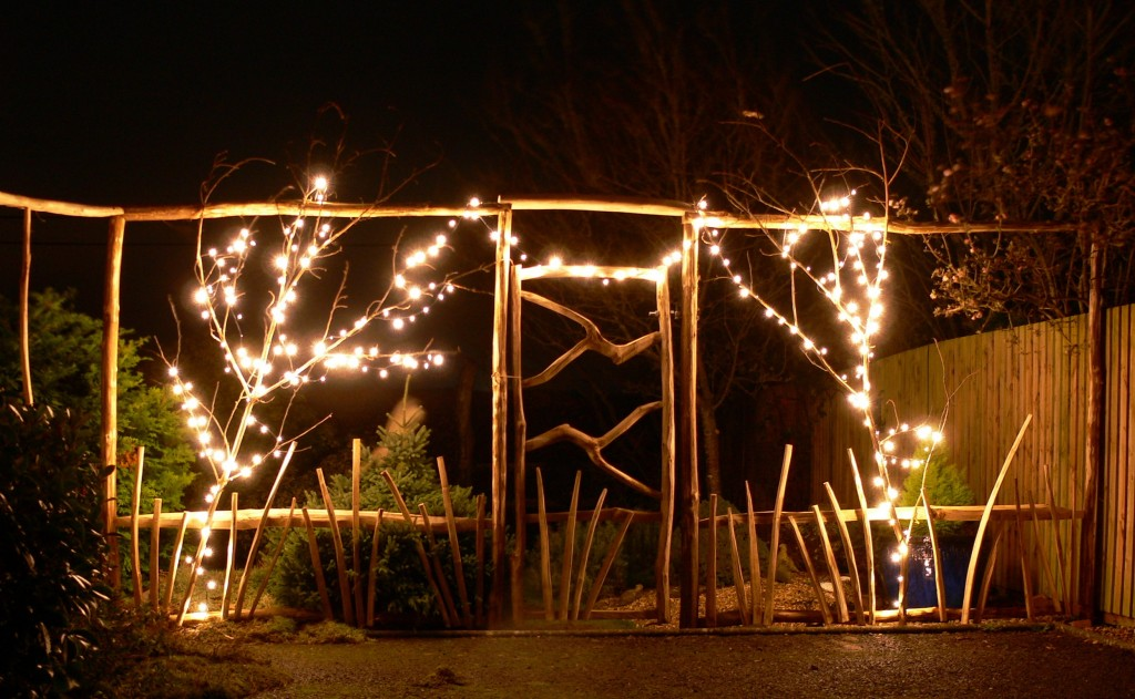 Bepoke fence and gate decorated with lights