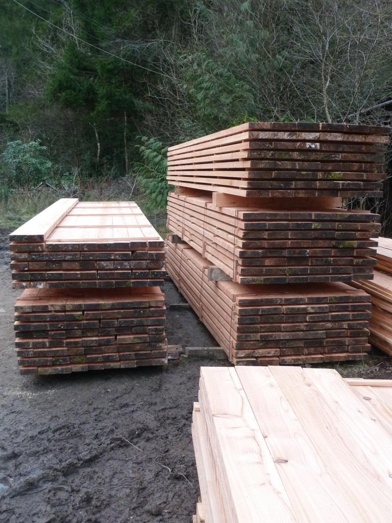 Sawn Larch timber stack