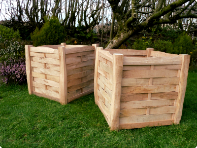 large square Oak planters