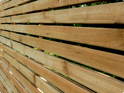 red cedar slatted panels